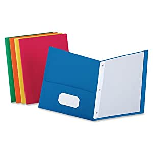 2-Pocket Paper Folders with Fasteners, Color Vary, Brand Vary, Pack of 10