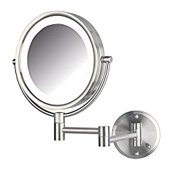 Jerdon HL88NLD 8.5-Inch LED Lighted Direct Wire Direct Wire Makeup Mirror with 8x Magnification, Nickel Finish