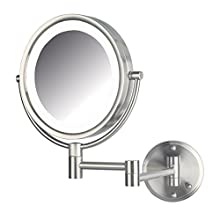 "Jerdon HL88NLD 8.5"" Led Lighted Direct Wire Makeup Mirror With 8x Magnification, Nickel Finish"