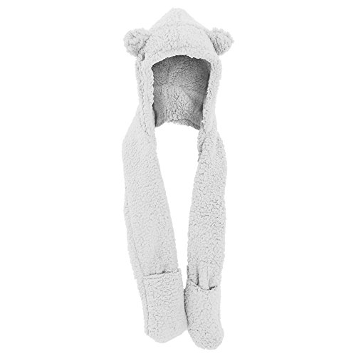 Womens/Ladies Supersoft Animal Design Winter Hood Hat With Scarf & Pockets (One Size) (White)