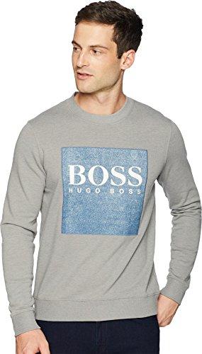 Boss Cotton Sweater - BOSS Orange Men's Wedford Denim Terry Sweatshirt with Logo, Light Pastel Gray, Small