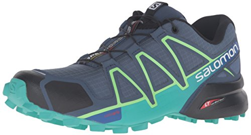 Salomon Womens Speedcross 4 W Trail Runner Blu Ardesia / Blu Spa / Verde Fresco