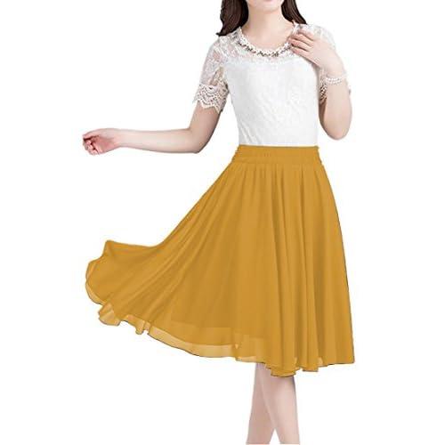 84fddf596c66e Omelas Women Chiffon Skirt Knee Length Short Full Pleated Skirts A-Line  Elastic Waisted durable