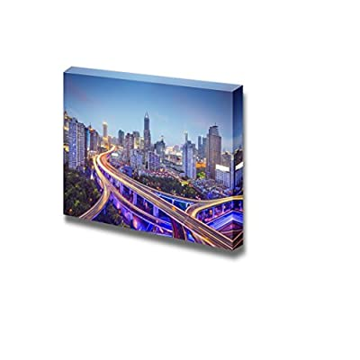 Canvas Prints Wall Art - Shanghai, China Aerial View Over Highways Beautiful Evening View | Modern Wall Decor/Home Art Stretched Gallery Canvas Wraps Giclee Print & Ready to Hang - 12