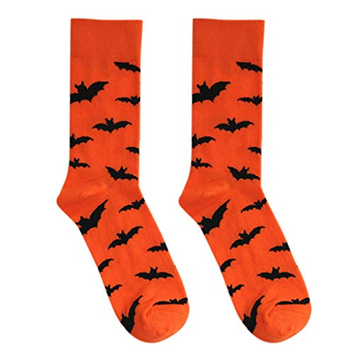 Forgun 1Pair Women Men Unisex Halloween Bats/Pumpkin Patterns Cotton Long Crew Socks Lovers Couples Harajuku Style Contrast Color Cosplay Costume -