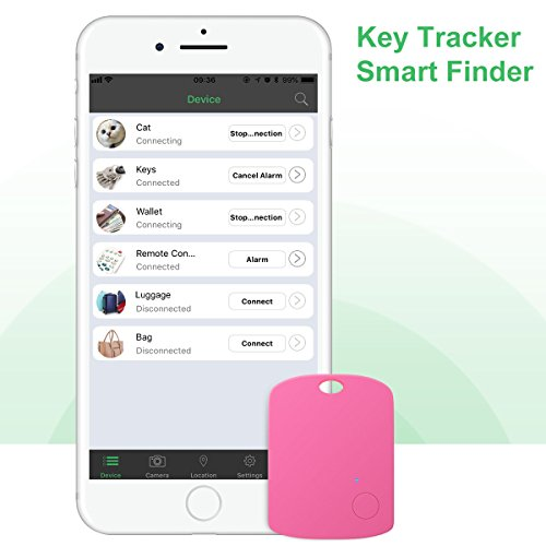 Key Finder, CC-Show Wireless GPS Phone Locator, Smart Wallet Tracker, Anything Anti Lost Alarm with Selfie Shutter/Remote Control for iOS/Android App, Shield Shape (Pink) by CC-Show