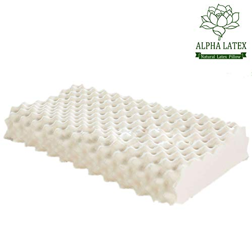 ALPHA LATEX Latex Pillow, Thailand Natural Latex Massage Pillow for Stress Relief/Soft Breathable Organic Latex Cervical Pillow - Promote Blood Circulation and Improve Sleeping Quality