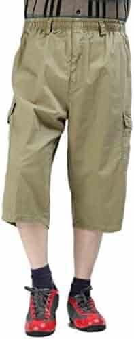 27ef9126d4 Fubotevic Mens Multi-Pockets Cotton Plus Size Elastic Waist Cropped Pants  Cargo Shorts Without Belt