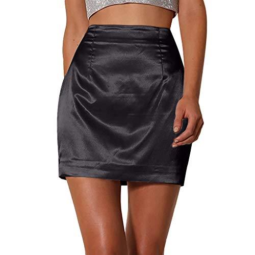 LISTHA Satin Smooth Zip Slim Skirt Women Ladies Solid Sexy Bodycon Mini Skirts Black