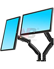 North Bayou Dual Monitor Desk Mount Stand Full Motion Swivel Computer Monitor Arm for Two Screens up to 32'' with Gas Spring - Black