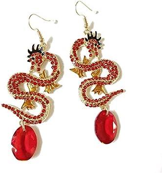 ZXF Pendientes de Diamantes de imitación de Piedras Preciosas de Color Rojo Artificial Pendientes de Diamantes de imitación para Mujer Gota de Cristal Accesorios Earrings