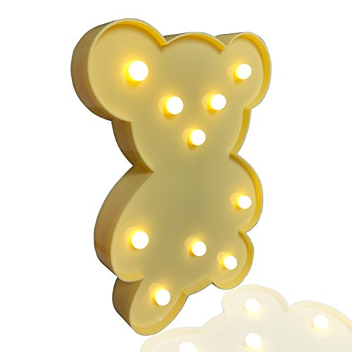 Yellow bear LED Battery Light,Ymhxcy [Chistmas][Birthday party] Kids Room, Living Room, Wedding Party Decor Deco Lamp Romantic Night Table Lamp - Christmas Game Light Tree