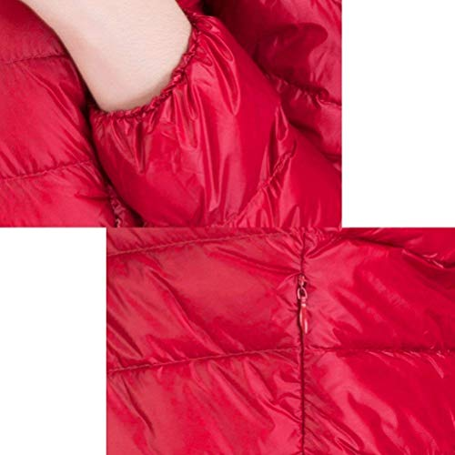 Donna Calda Giacca Colori Invernali Laterali Cappuccio Scuro Estilo Especial Rosso Piumini Lunga Manica Outerwear 88 Giaccone Cerniera Bobo Solidi Con Tasche 85Ywx84q