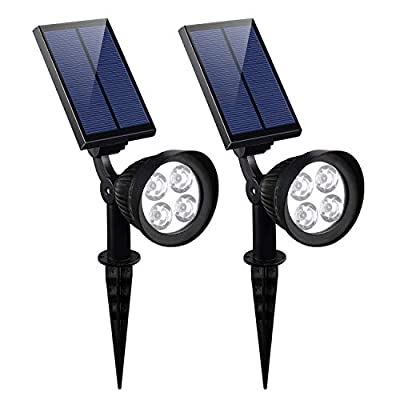 KOMAES Solar Spotlights Outdoor, Waterproof Solar Security Landscape Lights, Adjustable Solar Garden Light with Auto On/Off for Yard Driveway Pathway Pool Patior Garden, Walkways