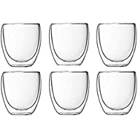 Best-encounter 6 Pieces Double Wall Glasses Coffee Cup,Medium 250ML