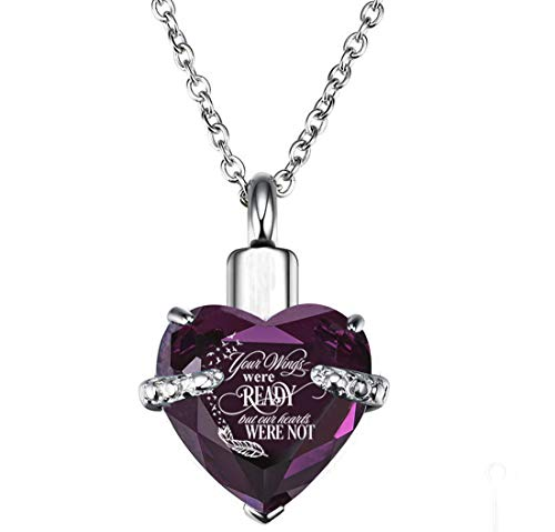 PREKIAR Heart Cremation Urn Necklace for Ashes Urn Jewelry Memorial Pendant with Fill Kit and Gift Box - Always on My Mind Forever in My Heart (Your Wings were -