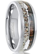 King's Cross Beautiful 8mm Brushed Finish Silver Tungsten Carbide Low Dome Band Ring with Polished Silver Feathered Arrow Over Koa Wood & Deer Antler Inlays feat. Comfort Fit Inner Band.