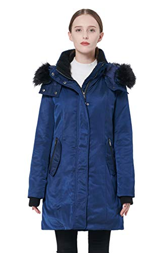 Orolay Women's Down Jacket with Removable Hood Winter Down Coat Navy (Best Faux Fur Coats On The High Street)