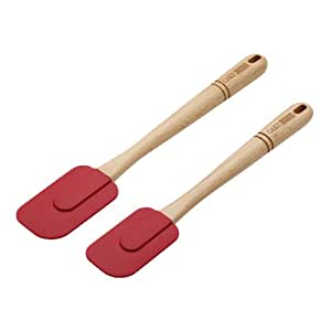 Cake Boss Wooden Tools and Gadgets 2-Piece Silicone Spatula Set, Red