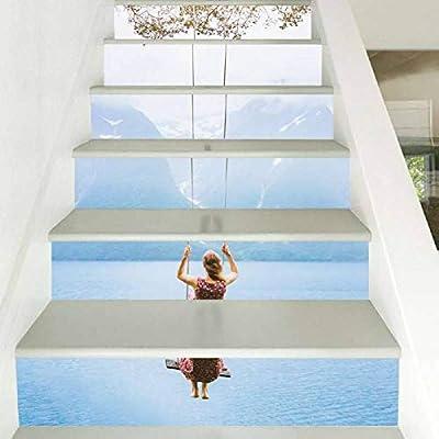 WWDDVH 3D Mujer Trapecio Cascada Escalera Etiqueta de La Pared Decoración para el hogar DIY Ríos Paisaje Tema Decoración Etiqueta de Papel de Pared: Amazon.es: Hogar