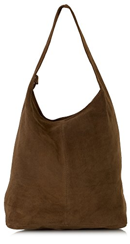 LiaTalia Large Real Italian Suede Leather Single Shoulder Strap Hobo Slouch Bag with Protective Storage Bag - Shay [Dark Tan]