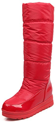 Calf Women's Boots Mid Heels Hidden On Toe Easemax Mid Red Wedge Round Stylish Pull Snow Inside pPwqdxgdR7