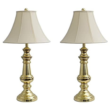 Polished brass 32 table lamps set of 2 amazon polished brass 32quot table lamps aloadofball Image collections