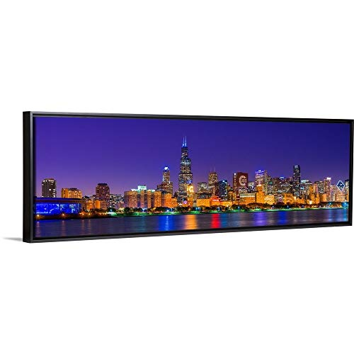 Floating Frame Premium Canvas with Black Frame Wall Art Print Entitled Chicago Skyline with Cubs World Series Lights Night, Lake Michigan, Chicago 60