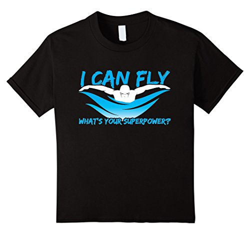 Kids I Can Fly What's Your Superpower? - Swimming T-Shirt 12 Black
