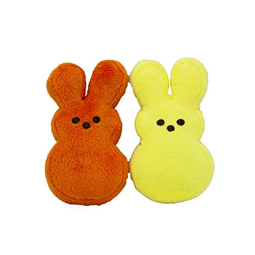 Peeps for Pets Plush Bunny Toys for Dogs, Orange/Yellow, Mini/2 Pack