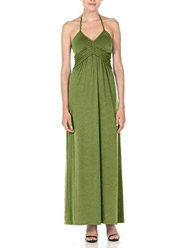 Silver Gate Women's Halter Maxi Dress With Braid Detail capulet Olive Large
