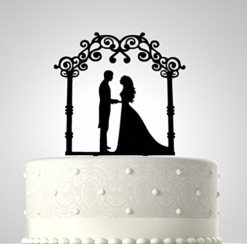 Rubies & Ribbons Wedding Cake Topper - Romantic Fairy Tale Couple Under Arch Party Decoration with Gift (Fairy Tale Couples)