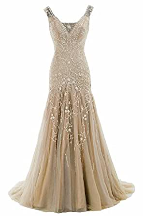 COCOMELODY Women's Trumpet V Neck Long Floor Length Beaded