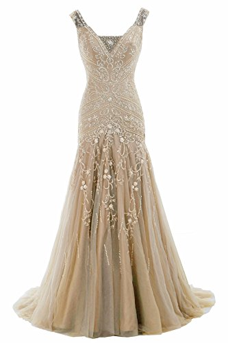 Cocomelody A Line V Neck Long Beaded Evening Dress Bmmc0009 Champagne 8
