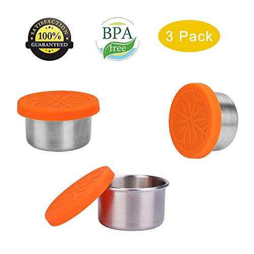 (ShineMe Condiment Containers with Leak Proof Silicone Lids Stainless Steel Mini Reusable 1.6oz Condiment Cups, Food-grade Silicone, BPA Free - 3 Pack (Mini Condiment Cups))