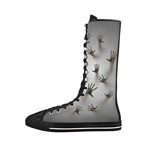 D-story Ghostly Hands Lace Up Tall Punk Dancing Lienzo Botas Largas Zapatillas Zapatos Para Mujeres