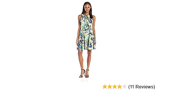 Julian Taylor Womens Cap Sleeve Floral Fit and Flare Dress with Belt