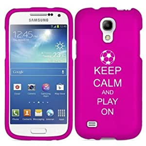 Samsung Galaxy Mega 2 G750 Snap On 2 Piece Rubber Hard Case Cover Keep Calm and Play On Soccer (Hot Pink)