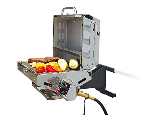 Camco Olympian 5500 Stainless Steel Portable Gas Grill Connects To Low Pressure Supply On RV, Includes RV Mounting Bracket And Folding Tabletop Legs - 180