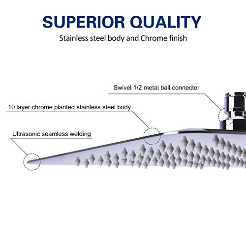 Artbath Shower Trim Kit and Rough-in Shower Valve Body, Ceiling Mounted 12 inch Rain Shower Head Set, Chrome Finished by Artbath (Image #5)