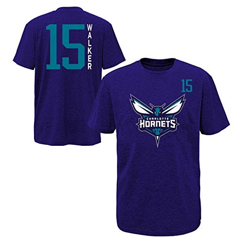 (Outerstuff NBA Youth Performance Team Color Primary Logo Player Name and Number Jersey T-Shirt (X-Large 16/18, Kemba Walker Charlotte Hornets Purple))