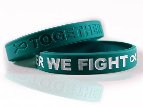 - Cancer & Cause Awareness Bracelets with Saying Together WE Fight, Gift for Patients, Survivors, Family and Friends, Set of 2 Ribbon Silicone Rubber Wristbands for All (Ovarian Cancer Teal)