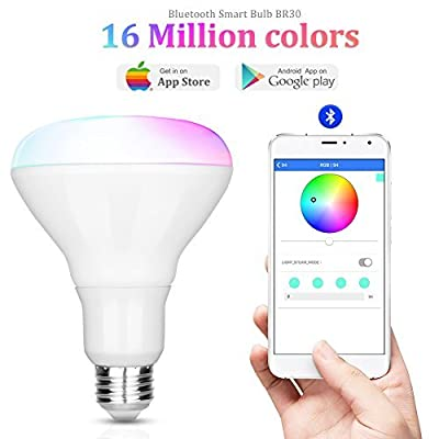 Image of iLintek Smart LED Light Bulb,Multicolored Dimmable,Bluetooth App Group Controlled,Party Disco Color Changing,9W-Equivalent 60w,2700K-6500K Color,No Hub Required,Sunrise Wake Up Night Light(BR30) LED Bulbs