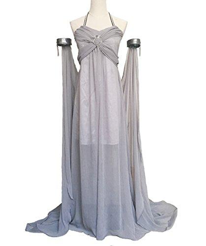 Xfang Women's Chiffon Dress Halloween Cosplay Costume Grey Long Train Dress (Dress For Halloween Games)