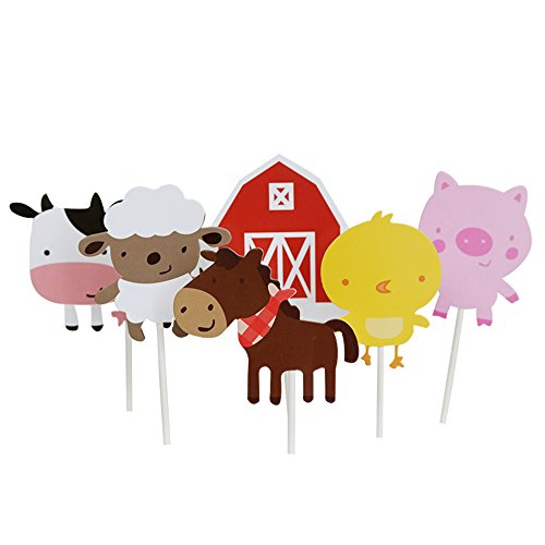 Wolpark 24 PCS Farm Animal Theme Cupcake Topper Cake Picks Decoration for Baby Shower Birthday Party - Sheep Barn