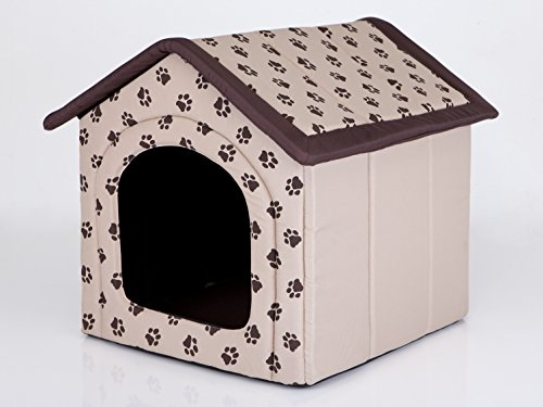 Hobbydog Dog House, Size 3, Beige with Paws