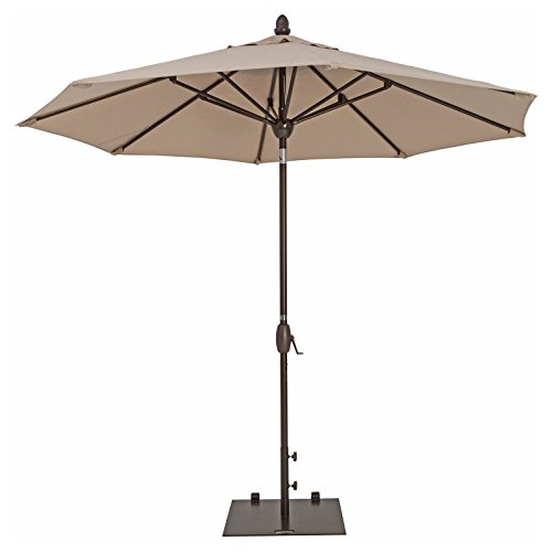 TrueShade Plus Market Outdoor Umbrella with Sunbrella Fabric Auto Tilt and Crank Includes Storage Cover 9 Diameter Canvas Aruba