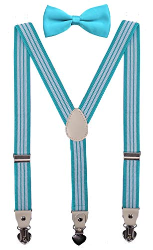 PZLE Mens Bow Tie and Suspenders Set for Wedding Adjustable 47 Inches Turquoise White Stripe -