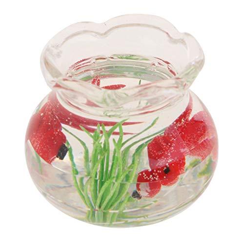 Agordo 1:12 Scale Transparent Glass Fish Tank w/ Red Fish Dollhouse Miniature Kits