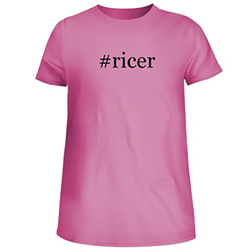 (BH Cool Designs #Ricer - Cute Women's Junior Graphic Tee, Pink, Small)